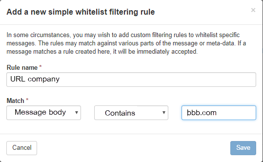 Whitelist Filtering rule